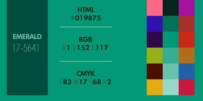 code hexa rvb et cmjn du vert meraude couleur de l ann e 2013 xarax agence web paris 17. Black Bedroom Furniture Sets. Home Design Ideas